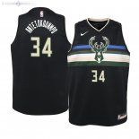 Maillot Enfants Milwaukee Bucks NO.34 Giannis Antetokounmpo Noir Statement 2019/2020