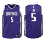 Maillot Enfants Sacramento Kings NO.5 De'Aaron Fox Pourpre Icon 2018