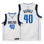 Maillot Enfants Dallas Mavericks NO.40 Harrison Barnes Blanc Association 2018