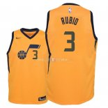 Maillot Enfants Utah Jazz NO.3 Ricky Rubio Jaune Statement 2018