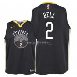 Maillot Enfants Golden State Warriors NO.2 Jordan Bell Noir Statement 2018