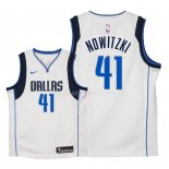 Maillot Enfants Dallas Mavericks NO.41 Dirk Nowitzki Blanc Association 2018