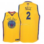 Maillot Enfants Golden State Warriors Finales Champions 2018 NO.2 Jordan Bell Nike Jaune Ville Patch