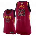 Maillot Femme Cleveland Cavaliers NO.23 LeBron James Rouge Icon Patch Finales Champions 2018