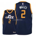 Maillot Enfants Utah Jazz NO.2 Joe Ingles Marine Icon 2018