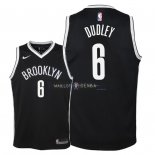 Maillot Enfants Brooklyn Nets NO.6 Jared Dudley Noir Icon 2018