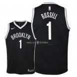 Maillot Enfants Brooklyn Nets NO.1 D'Angelo Russell Noir Icon 2018