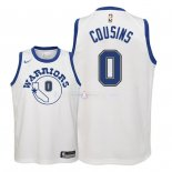 Maillot Enfants Golden State Warriors NO.0 DeMarcus Cousins Nike Retro Blanc 2018