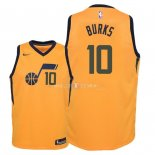Maillot Enfants Utah Jazz NO.10 Alec Burks Jaune Statement 2018