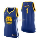 Maillot Femme Golden State Warriors No.1 JaVale McGee Bleu Icon