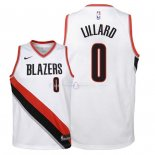 Maillot Enfants Portland Trail Blazers NO.0 Damian Lillard Blanc Association 2018