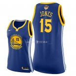 Maillot Femme Golden State Warriors NO.15 Damian Jones Bleu Icon Patch Finales Champions 2018