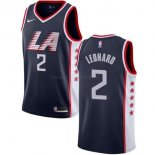 Maillot Enfants Los Angeles Clippers NO.2 Kawhi Leonard Marine Ville 2019-20