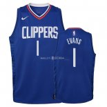 Maillot Enfants Los Angeles Clippers NO.1 Jawun Evans Bleu Icon 2018