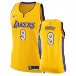 Maillot Femme Los Angeles Lakers NO.9 Rajon Rondo Jaune Icon 2018