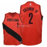 Maillot Enfants Portland Trail Blazers NO.2 Wade Baldwin IV Rouge Statement 2018