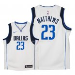 Maillot Enfants Dallas Mavericks NO.23 Wesley Matthews Blanc Association 2018