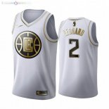 Maillot Los Angeles Clippers NO.2 Kawhi Leonard Blanc Or 2019-20