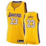 Maillot Femme Los Angeles Lakers NO.23 LeBron James Jaune Icon 2018