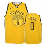 Maillot Enfants Earned Edition Golden State Warriors NO.0 DeMarcus Cousins Jaune 2018-19