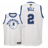 Maillot Enfants Golden State Warriors Finales Champions 2018 NO.2 Jordan Bell Nike Retro Blanc Patch