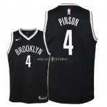 Maillot Enfants Brooklyn Nets NO.4 Theo Pinson Noir Icon 2018