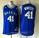 Maillot Dallas Mavericks No.41 Dirk Nowitzki Retro Bleu