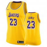 Maillot Femme Los Angeles Lakers NO.23 LeBron James Jaune Icon 2018-19