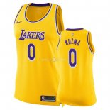Maillot Femme Los Angeles Lakers NO.0 Kyle Kuzma Jaune Icon 2018-19