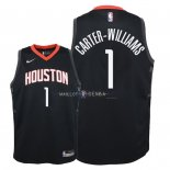 Maillot Enfants Houston Rockets NO.1 Michael Carter Williams Noir Statement 2018