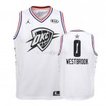 Maillot Enfants 2019 All Star NO.0 Russell Westbrook Blanc