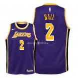 Maillot Enfants Los Angeles Lakers NO.2 Lonzo Ball Pourpre Statement 2018-19