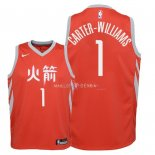 Maillot Enfants Houston Rockets NO.1 Michael Carter Williams Nike Rouge Ville 2018