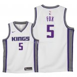 Maillot Enfants Sacramento Kings NO.5 De'Aaron Fox Blanc Association 2018