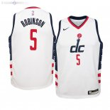 Maillot NBA Enfant Washington Wizards NO.5 Justin Robinson Nike Blanc Ville 2019-20