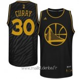 Maillot Golden State Warriors Metales Mode Précieux No.30 Curry Noir
