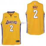 Maillot Enfants L.A.Lakers No.2 Lonzo Ball Jaune 2017/2018