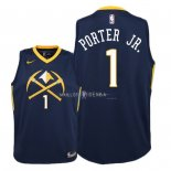 Maillot Enfants Denver Nuggets NO.1 Michael Porter Jr Nike Marine Ville 2018