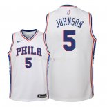 Maillot Enfants Philadelphia Sixers NO.5 Amir Johnson Blanc Association 2018