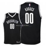Maillot Enfants Brooklyn Nets NO.0 Rodions Kurucs Noir Icon 2018