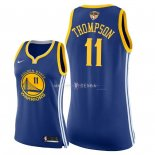 Maillot Femme Golden State Warriors NO.11 Klay Thompson Bleu Icon Patch Finales Champions 2018