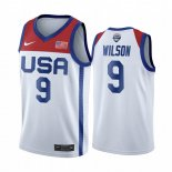 Maillot 2020 Jeux Olympiques Tokyo USMNT NO.9 A'ja Wilson Blanc