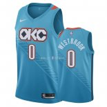 Maillot Oklahoma City Thunder Nike NO.0 Russell Westbrook Nike Turquoise Ville 2018/2019