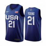 Maillot 2020 Jeux Olympiques Tokyo USMNT NO.21 Thaddeus Young Bleu