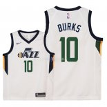 Maillot Enfants Utah Jazz NO.10 Alec Burks Blanc Association 2018