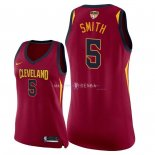 Maillot Femme Cleveland Cavaliers NO.5 J.R. Smith Rouge Icon Patch Finales Champions 2018