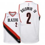 Maillot Enfants Portland Trail Blazers NO.2 Wade Baldwin IV Blanc Association 2018
