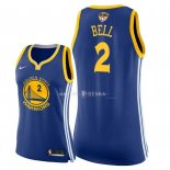 Maillot Femme Golden State Warriors NO.2 Jordan Bell Bleu Icon Patch Finales Champions 2018