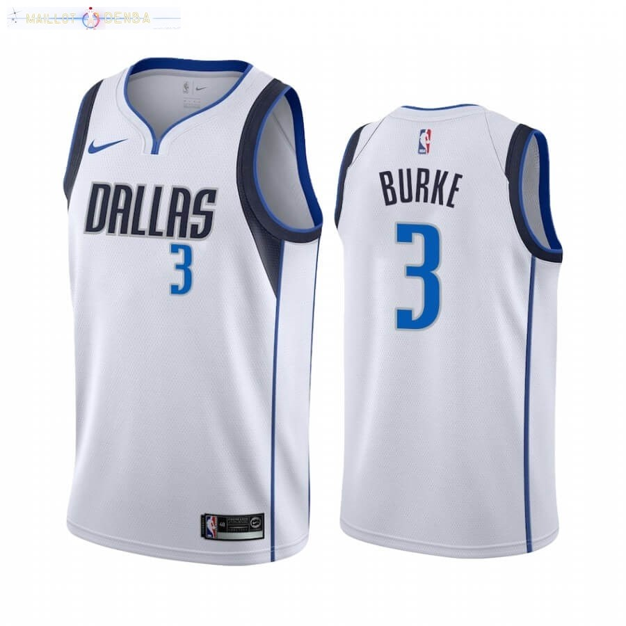 Maillot Dallas Mavericks Nike NO.3 Trey Burke Blanc Association 2020-21