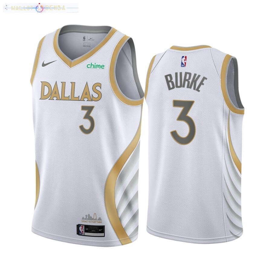 Maillot Dallas Mavericks Nike NO.3 Trey Burke Blanc Ville 2020-21